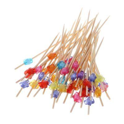 100pcs Plum Blossom Food Picks Fruit Salad Party Sticks Cocktail Toothpicks 12cm