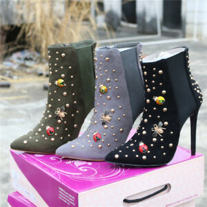 Womens-Faux-Suede-Stilettos-High-Heel-Rivets-Ankle-Boots-Pointed-Toe-Shoes-New