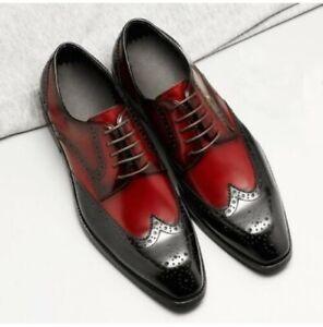 Fait-Main-Homme-Deux-Tone-aile-Richelieu-a-Robe-Chaussures-HOMMES-FORMELLES-CHAUSSURES-en-CUIR
