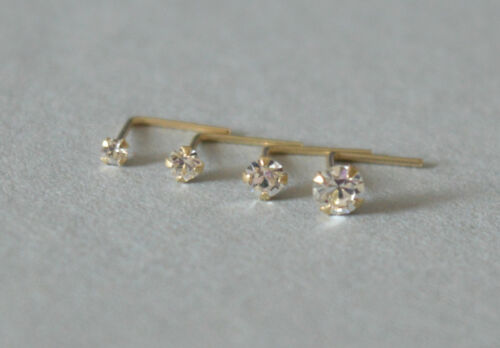 9ct k carat Yellow or White Gold 1.5 2 2.5 or 3mm Crystal  L Shaped Nose Stud