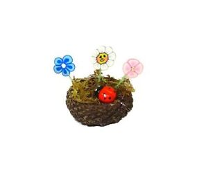 Handcrafted Whimsical Fairy Garden Flowers and Ladybug 1:12 Dollhouse Miniatures