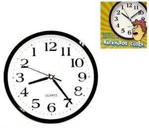 New Backwards Wall Clock Funny Novelty Time Clocks Decor