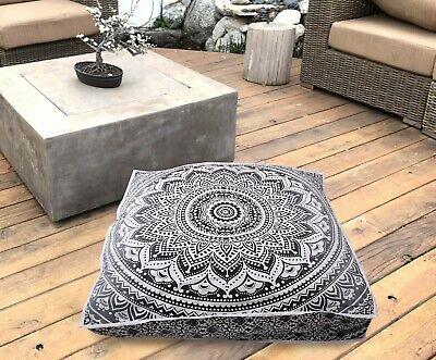 Square Floor Cushion Cover 35 Inches Mandala Flower Design Cotton Fabric Ethnic