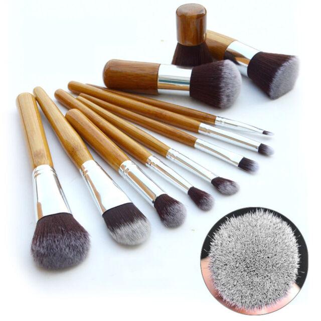 11pcs Bamboo Brushes Kit Makeup Cosmetic Blush Brush Eyebrow Foundation Powder