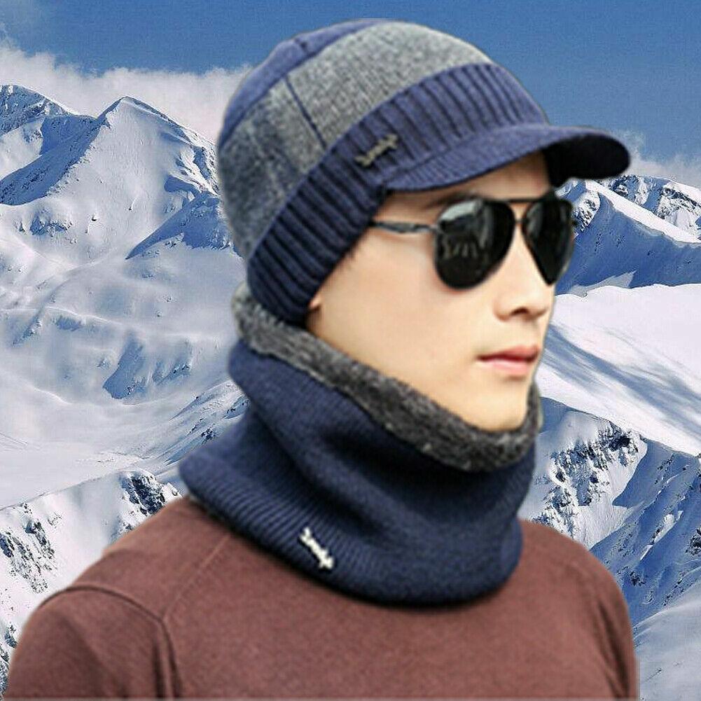 Mens winter blue with gray stripe billed beanie