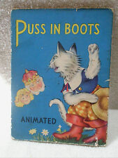 Vintage Puss in Boots Illus. Book 1949 Saalfield Publishing Animated Pull Tab