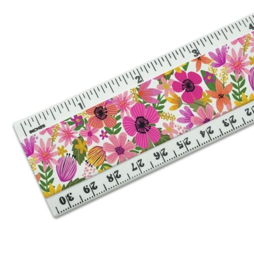 Vivid Flowers 12 Inch Standard and Metric Plastic Ruler