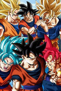 dragon ball z super poster goku six forms 12in x 18in free shipping