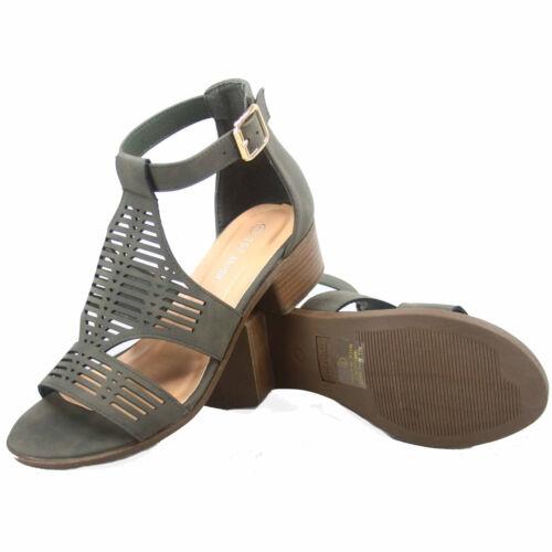 Women/'s Buckle Open Toe Ankle Strap Low High Heel Sandal Shoes Size 5-10 NEW