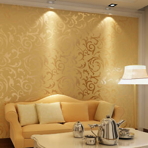 Luxury Golden Acanthus Leaf Feature Designer Wallpaper Background ...