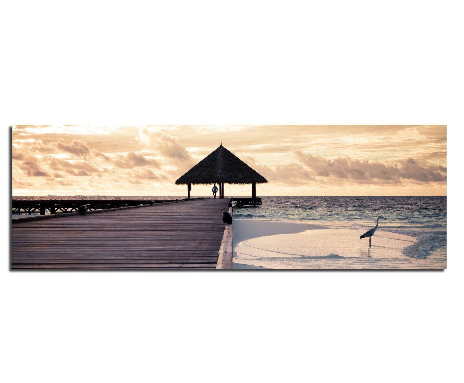 LeinwandBild Bild Wandbild Tropical Island Romantik Steg Sonnenuntergang Meer