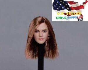 1-6-Emma-Watson-Head-Sculpt-geraden-Haar-Harry-Potter-Hermine-fuer-Phicen-USA