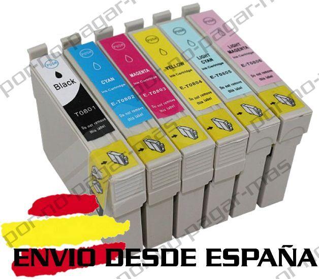 6 CARTUCHOS DE TINTA COMPATIBLE NON OEM PARA EPSON STYLUS PHOTO PX730WD T0807