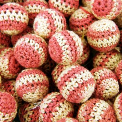 18mm 2 pinks Pk of 10 Baby teether CR84 Crochet Wool Woven Fabric Beads