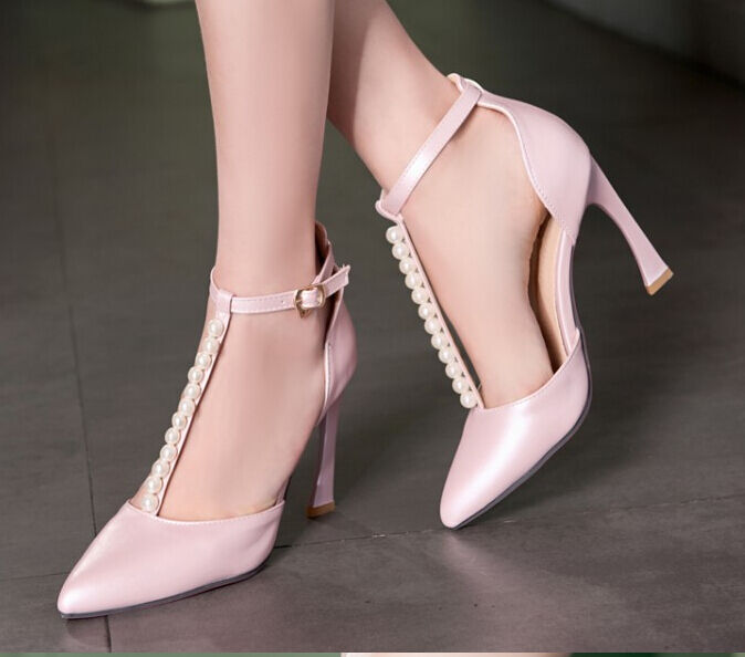 Decolletage With strap and pearls - pink heel 9,5 cm cod. 8215
