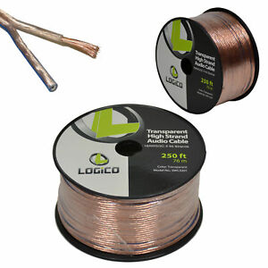 Car-Home-Audio-Speaker-Wire-16-Gauge-Bulk-Audio-Speaker-Cable-Transparent-250-ft