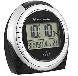 CLEARANCE-ZENITH-RADIO-CONTROLLED-L-C-D-ALARM-CLOCK-IN-BLACK-OUR-REF-4r