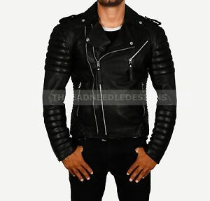 908853a05 New Men s Genuine Lambskin Leather Jacket Black Slim fit Biker ...