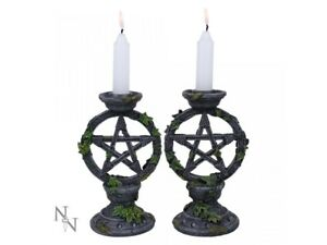 Nemesis-Now-Gothic-Set-of-2-Wiccan-Pentagram-Candlesticks-Candle-Holders-Decor