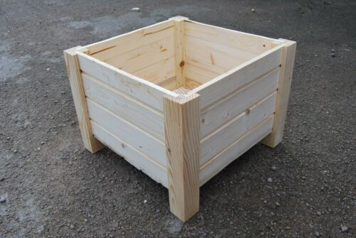 Unpainted Square Large Wooden Pot 55 x 55 x 40 cm of Solid Wood Pine
