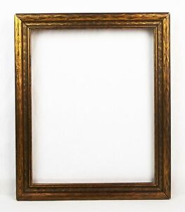Antique-1920-039-s-Picture-Frame-Baroque-Gold-Floral-Pressed-Wood-Fits-15x12