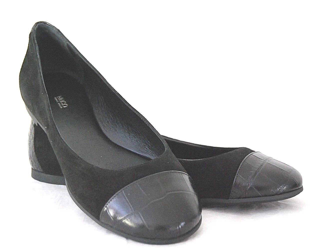 HUGO BOSS Ballerinas Gr. 38 Neu Camilla schwarz  Leder ROT Label Schuhe Pumps HB