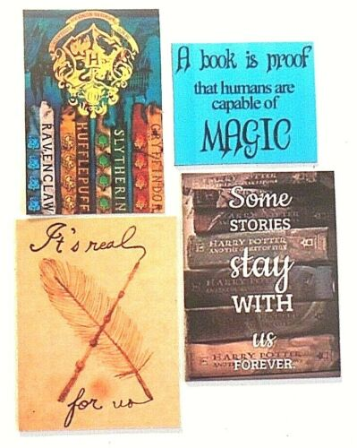 Harry Potter stories forever wand real magic Hogwarts book wizard feather magnet