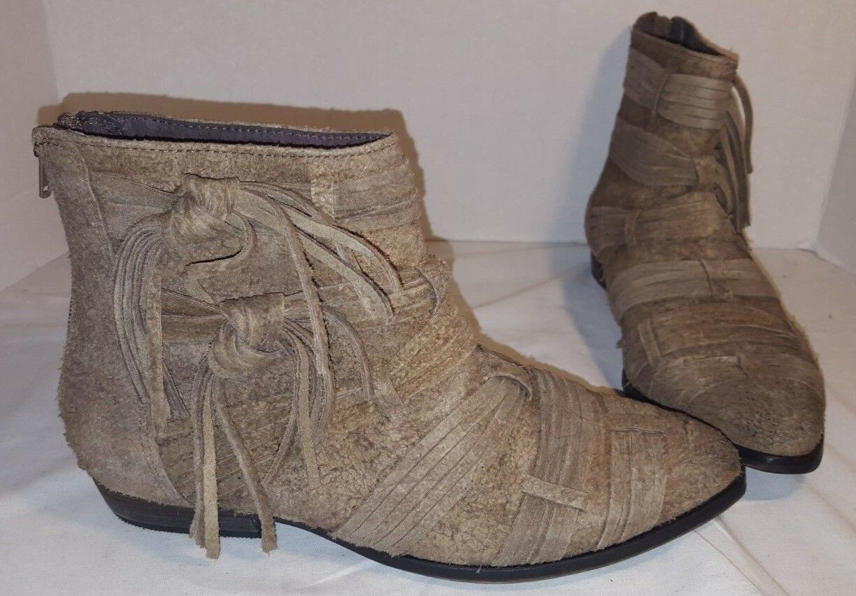 NEW FREE PEOPLE TAUPE DECADES RAW SUEDE ANKLE bottes US 8 EUR 38