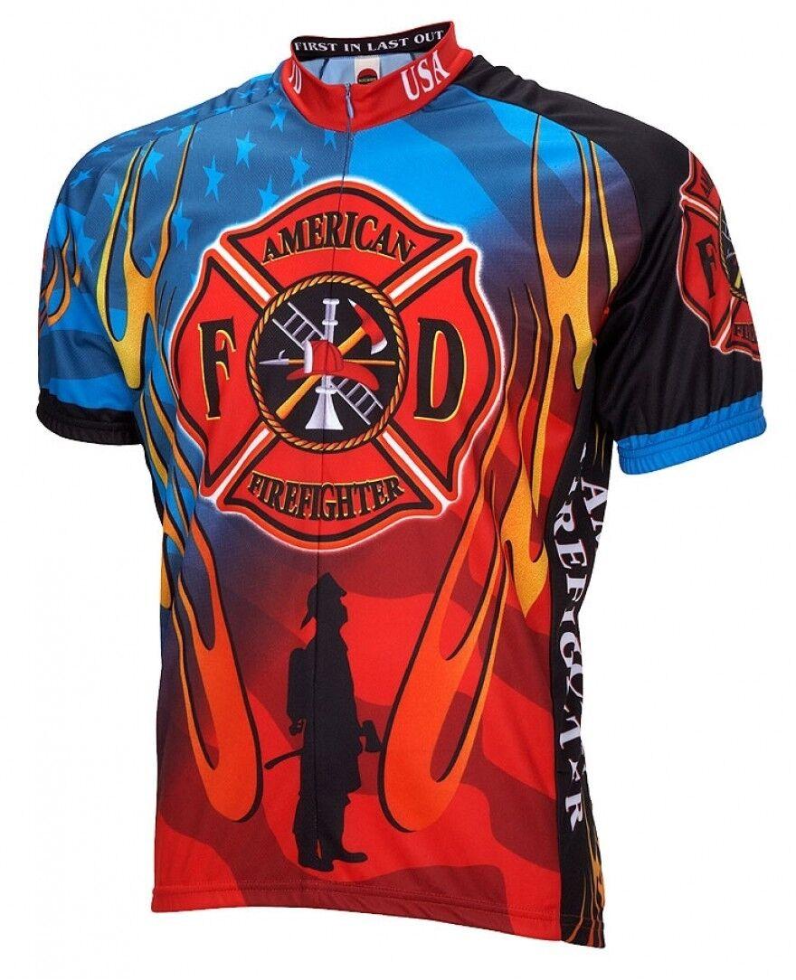 World Jerseys American Firefighter Mens Cycling Jersey bike bicycle
