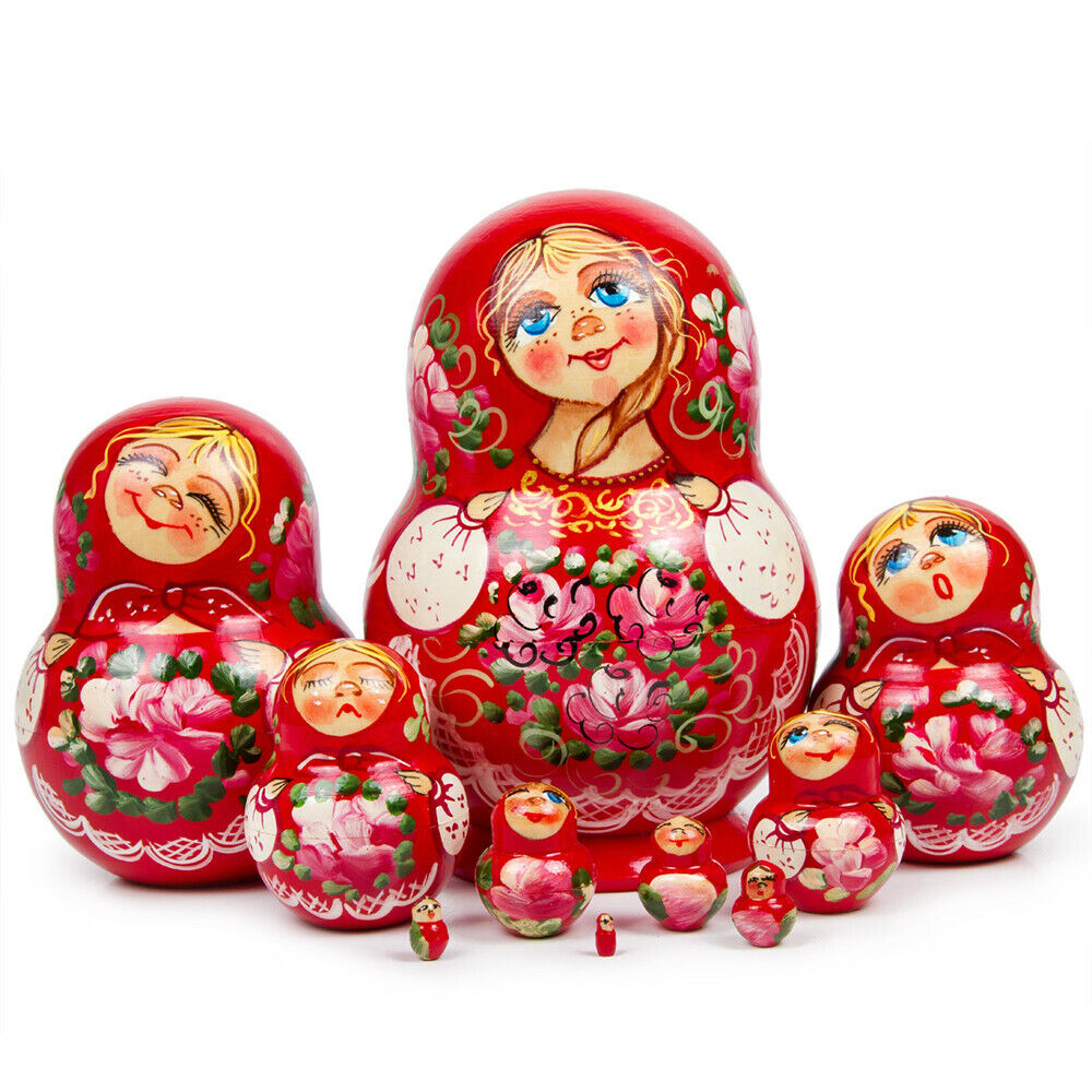 10 pc rosso Russian Nesting bambolas w  Floral  Art 6  Matryoshka He Painted Russia  vendita scontata online di factory outlet