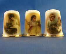 Birchcroft Thimbles -- Set of Three -- Vintage Sewing Ladies