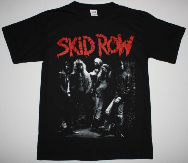 SKID ROW BAND GLAM HARD ROCK SKIDROW CINDERELLA ALICE COOPER NEW BLACK T-SHIRT