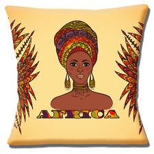 """LADY Africa Tribale Marrone Arancio Giallo Tonalità etniche 16"""" CUSCINO COVER"""