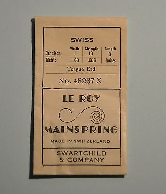 Le Roy MAINSPRING No. 48267X 0.10 / 0.008 / 8.0'' long For SWISS (D24)