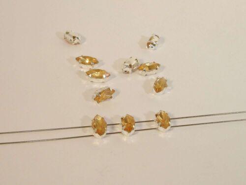 15 unidades #p28//3 Faceteados aufnähsteine-navetten Gold