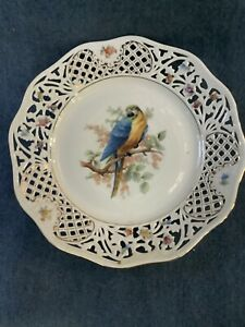 Schumann-Arzberg-Germany-Parrot-Cabinet-Plate-Filagree-Edge-Germany-Crown-Mark