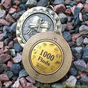 1000-Finds-Geocaching-Milestone-SPINNER-Geomedal-Geocoin-Ant-Gold-Colour