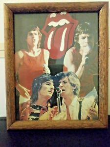 Rolling-Stones-Mic-Jagger-Rock-Action-Reprint-9-X-11-Logo-Lips-Glass-Wood-Frame
