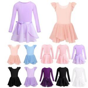 Girls Ballet Dance Dress Bodysuit Kids Ruffled Sleeve Gymnastics Leotard Costume