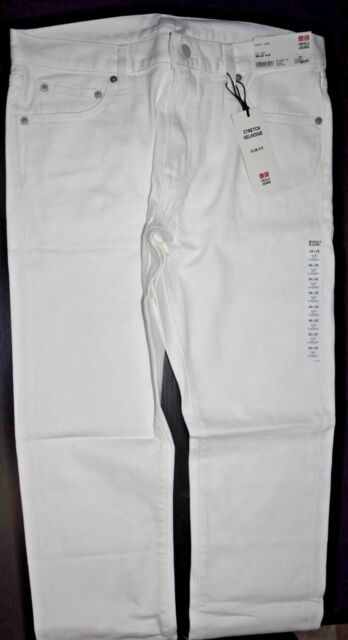 55c4d4a8479f2 Buy Uniqlo Men's Slim Fit Straight Jeans White 34x32 online | eBay