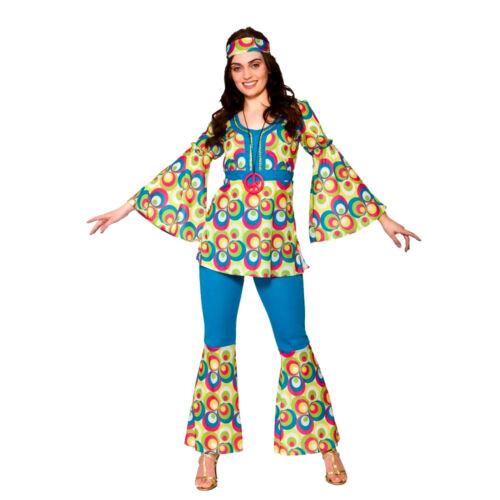 Adult FUNKY HIPPIE CHICK Fancy Dress Flower Power 60s Hippy Costume UK Size 6-20