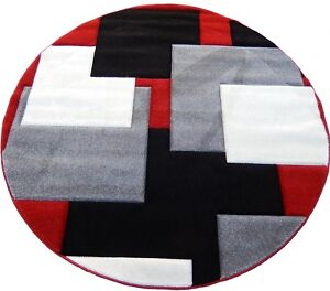 Woven 8x8 Area Rug Red Black White