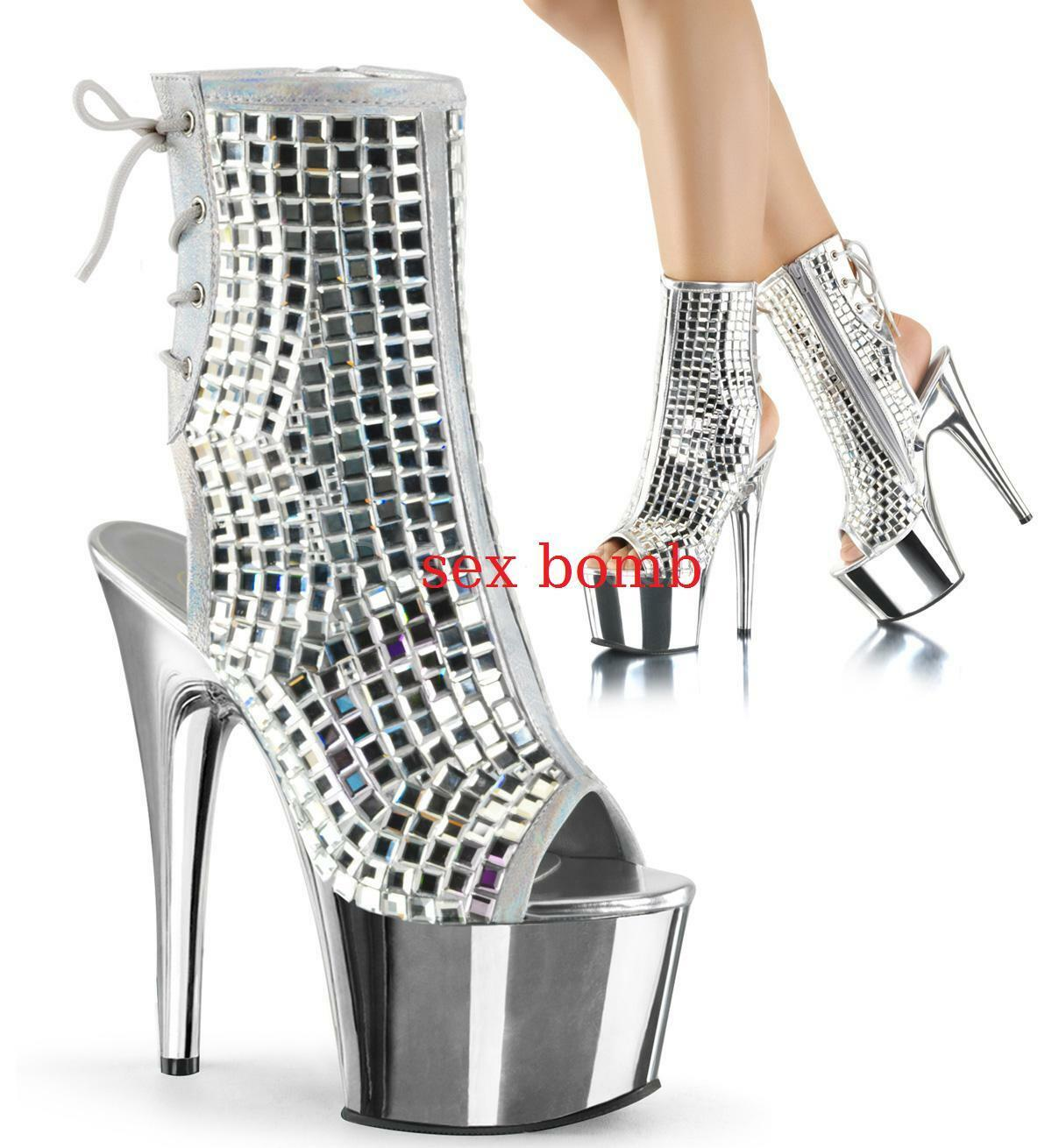Sexy BOOTIES BOOTIES BOOTIES DISK heel 18 from 35 to 40 mirrors SILVER sprung plateau ff5731