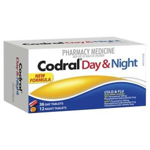 * CODRAL DAY & NIGHT COLD & FLU 48 TABLETS HEADACHES AND FEVER RELIEF 9300607180510