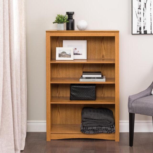 Prepac Sonoma 4 Shelf Wood Bookshelf in Oak