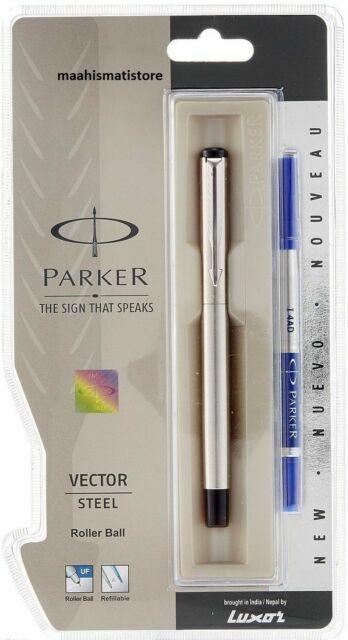 Parker Vector Chrome Trim CT Rollerball Pen Roller Ball Blue Ink Black Body New