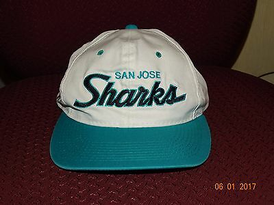 New Fashion Vintage San Jose Sharks Twill Sports Specialties Script Snapback Hat 90's Nwot Hockey-other