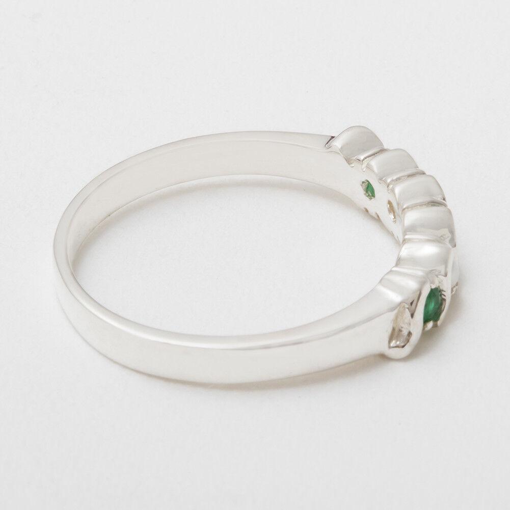 925 argentoo argentoo argentoo Sterling Smeraldo Naturale & PERLA LINEA DONNA Eternity anello-Taglie J a Z bfe2a4