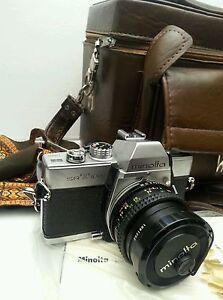 Minolta SRT 100 Film Camera w/ Minolta MC Rokkor-X PF 1:2 f = 50mm Lens w/bag