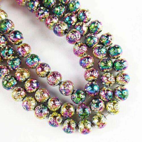 "6mm Rainbow Titanium Crystal Agate Quartz Geode Loose Bead 15.5 /"" A-584TZ"